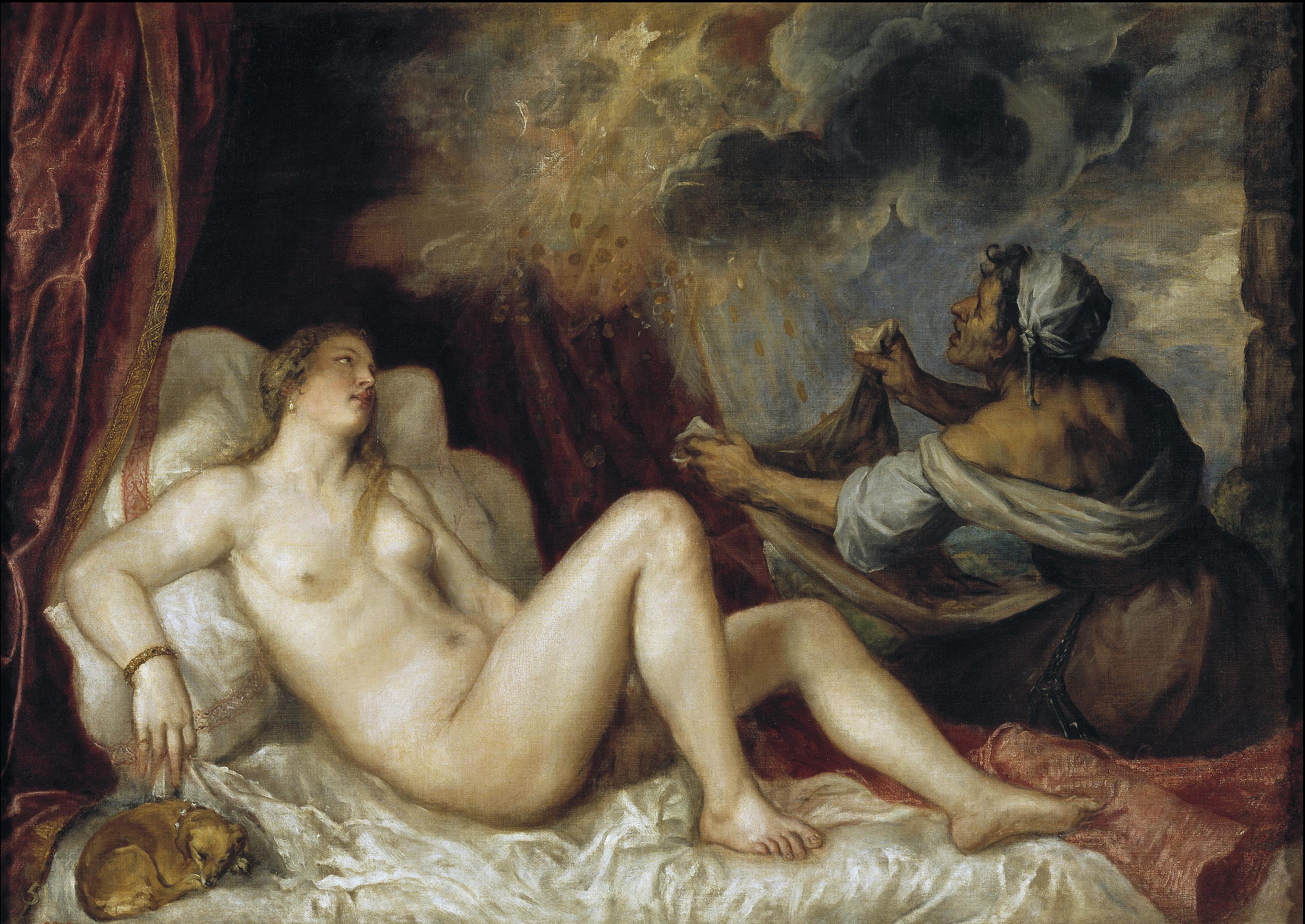 Tiziano, Danae recibiendo la lluvia de oro