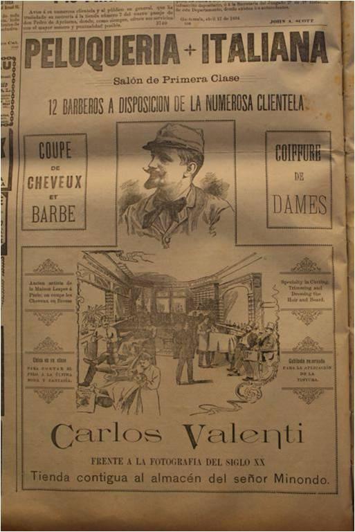 Otro anuncio publicado el Diario de Centro América, el 21 de abril de 1894, anunciando los servicios del negocio de Valenti. (Fuente: carlosvalenti.org)