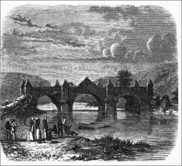 Puente de la Gloria. Construcción colonial tendida sobre el río Michatoya, cerca de la población de Amatitlán. Dibujo de Arturo Morelet.