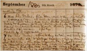 Entrada del diario de George Charles Champion, correspondiente a los días 6 y 7 de septiembre de 1880, traducidos libremente arriba. (Fuente: www.james-champion.com)
