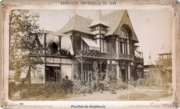 Pabellón de Guatemala en la Exposición Universal de París, 1889.  (Fuente: skyscrapercity, foro de la ciudad de Guatemala).