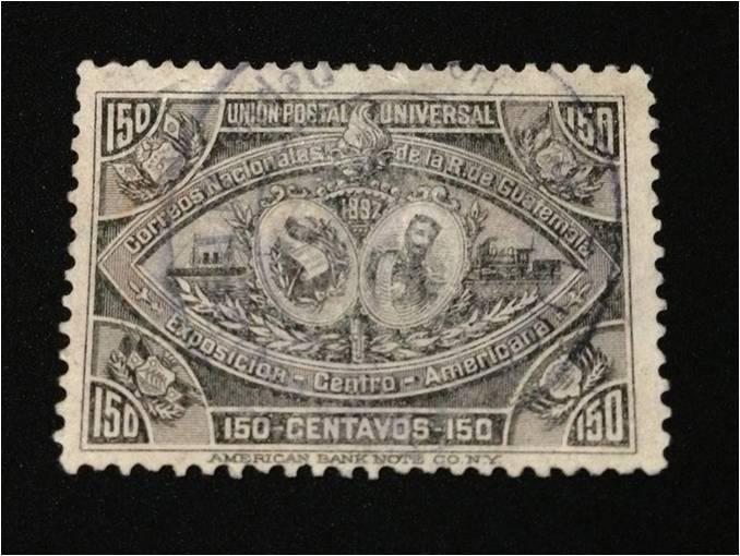Sello emitido por el Gobierno de Guatemala con ocasión de la Exposición Centroamericana de 1897. (Fuente: Asociación Filatélica de Guatemala)