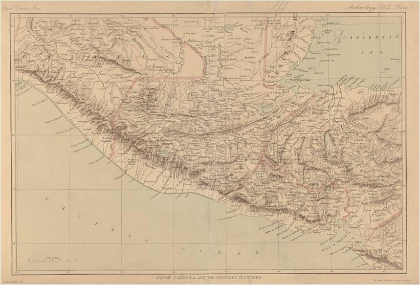 Mapa de Guatemala incluido en el tomo V de Arqueología de la Biología Centrali Americana, publicados en Londres entre 1889 y 1902. Este mapa acompaña los textos de Alfred Maudslay que explican los cuatro tomos del Atlas arqueológico. (Fuente: Harvard University Library).