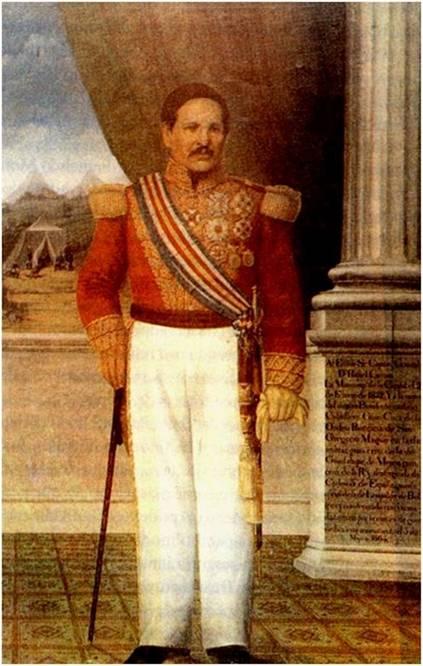 Conocido retrato del General y Presidente Rafael Carrera, con traje de gala y portando la banda presidencial con los colores nacionales del pabellón aprobado en 1851. La pintura original se encuentra en el Museo Nacional de Historia.
