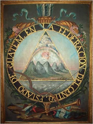 Escudo del Estado de Guatemala en la República Federal de Centro América. La pintura original se conserva actualmente en el Museo Nacional de Historia, ciudad de Guatemala.