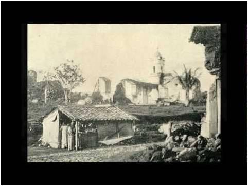 Paisaje rural de Sonsonate a finales del siglo XIX, en las cercanías de Armenia. Con toda seguridad no habrá variado mucho desde el año en que Thompson pasó por sus caminos rumbo a la capital de la federación.