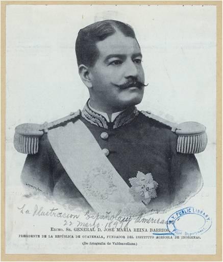 """Interesante retrato del Presidente José María Reina Barrios publicado en la revista """"La Ilustración Española"""". (Fotografía original de Valdeavellano)."""