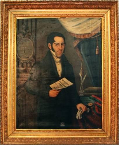 Retrato del doctor Mariano Gálvez, jefe del Estado de Guatemala cuando se desató la epidemia de cólera. Retrato propiedad del Museo de Historia de la Universidad San Carlos (MUSAC).