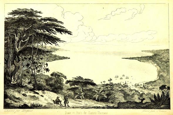 La bahía de Santo Tomás según un grabado de 1840. Esta imagen agreste y salvaje del trópico Caribe fue la primera imagen que tuvieron los inmigrantes italianos de Guatemala, desde los barcos del fondo, claro.