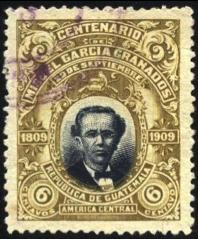 Sello postal emitido por Guatemala en conmemoración del centenario del nacimiento del general Miguel García Granados, líder de la Revolución Liberal que tomó el poder el 30 de junio de 1871.