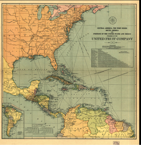 Hermoso mapa editado por la United Fruit Company (UFCO) de Centroamérica, las indias occidentales, Sur América y porciones de los Estados Unidos y México.