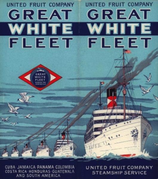 Poster propagandístico de la Great White Fleet, otra empresa de la United Fruit Company (UFCO).