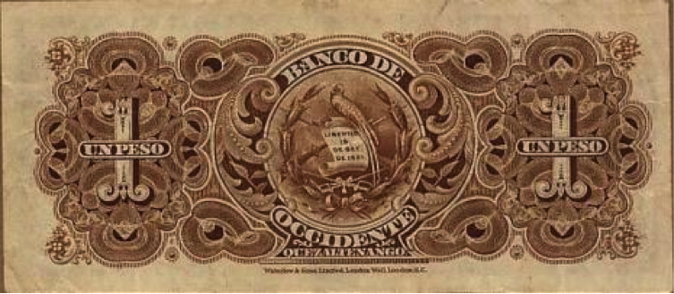 Reverso Billete de 1 peso, emisión 1921