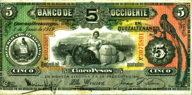 Banco de Occidente, billete de 5 pesos.