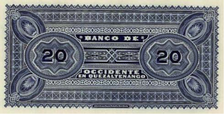 Banco de Occidente, billete de 20 pesos