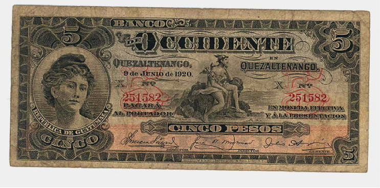 Banco de Occidente, billete 5 pesos