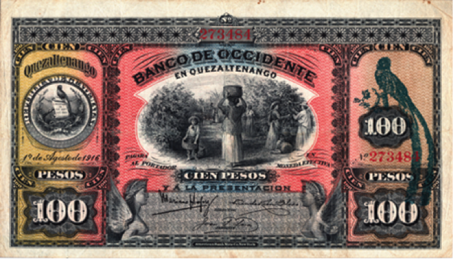 Banco de Occidente, billete de 100 pesos, emisión de 1916