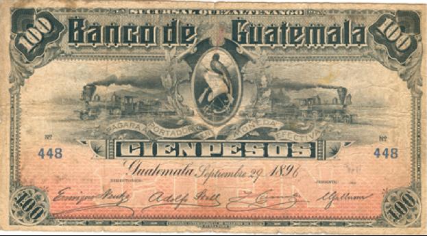 Banco de Guatemala, billete de 100 pesos, emisión 1896