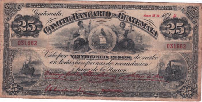 Comité Bancario de Guatemala, billete de 25 pesos, emisión de 1899