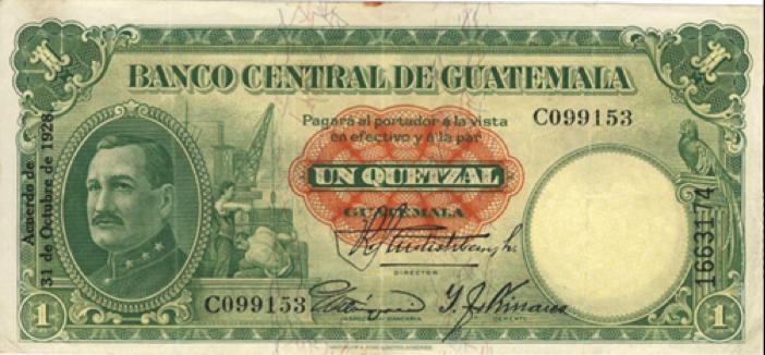 Billete de 1 quetzal, 1928