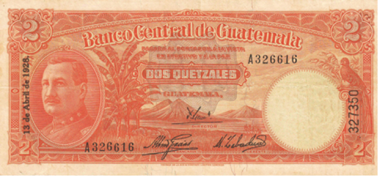 Billete de 2 quetzales, 1928