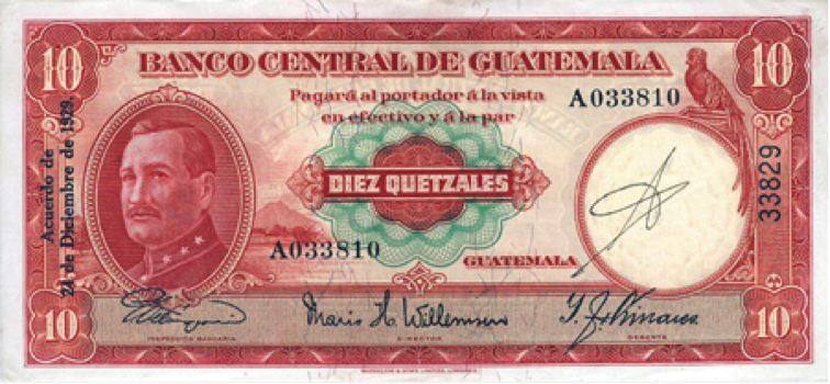 Billete de 10 quetzales, 1929
