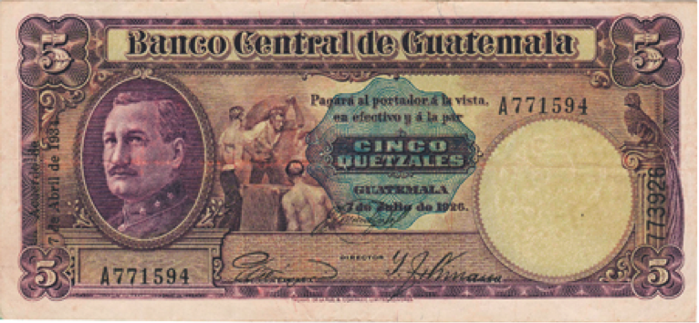 Billete de 5 quetzales, 1931