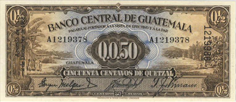 Billete de cincuenta centavos, 1938