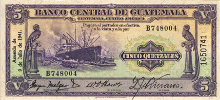 Billete de cinco quetzales, 1941