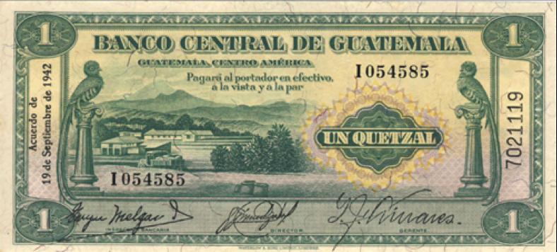 Billete de 1 quetzal, 1942