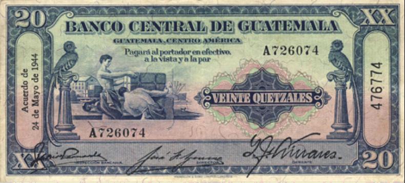 Billete de veinte quetzales, 1944