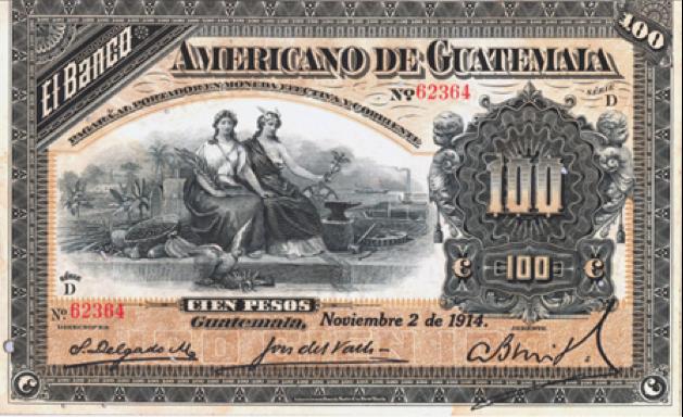 Banco Americano de Guatemala, emisión de 1914