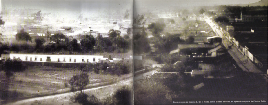 Bucólica fotografía tomada desde el Cerrito del Carmen hacia el sur, destacando la línea recta de la 12 avenida de la zona 1, en la que se puede apreciar, a la derecha, la parte trasera del desaparecido Teatro Colón.