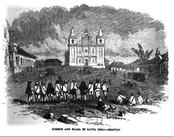 Iglesia y plaza de Santa Rosa, departamento de Gracias, Honduras