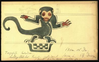 Ejemplo de las minuciosas notas de Lehmann. En la imagen, un dibujo de una cerámica precolombina encontrada por el alemán en El Salvador. (http://portal.iai.spk-berlin.de/Walter-Lehmann.204.0.html)