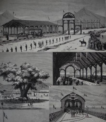 Postal conmemorativa de la inauguración de la línea Puerto San José-ciudad de Guatemala, en 1883.