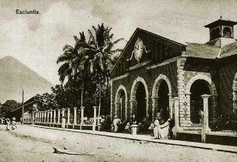 Fachada de la estación del ferrocarril de Escuintla. (Fotografía de Valdeavellano).