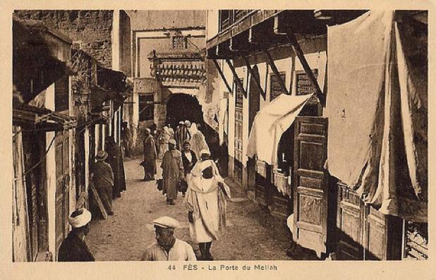 La puerta de Mellah, en Fez, sin fecha. No muy distinta a la imagen con se habrá encontrado Gómez Carrillo durante sus vagabundeos por la ciudad en su viaje a Marruecos en 1925.