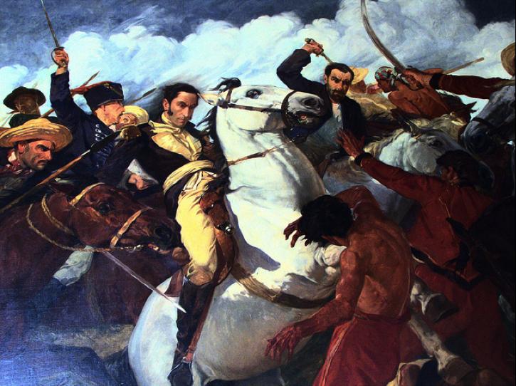 Simón Bolívar (Simón José Antonio de la Santísima Trinidad Bolívar y Palacios), en sus días de gloria. Retratado en plena acción, cargando contra los realistas en la batalla de Araure, el 5 de diciembre de 1813, la pintura se encuentra en la Casa de Bolívar, en Caracas, Venezuela.