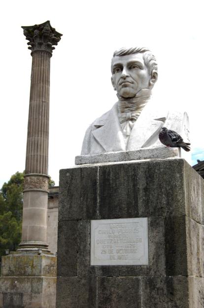 Busto erigido en honor al doctor Cirilo Flores en el Parque Central de la ciudad de Quetzaltenango. (Foto de Harry Díaz, publicada en Flikr).
