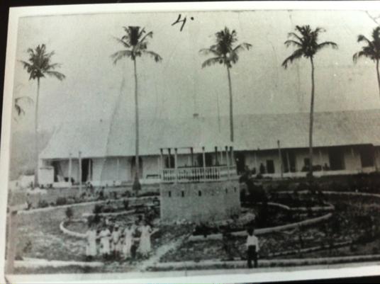 """Plaza Central de Flores (comienzos del siglo XX). Descrita por Flores: """"La Plaza de Armas (o sea de los cocos) situada como a 15 o 20 varas sobre el nivel de la laguna, es un cuadrilongo irregular con un kiosko arratonado en el centro donde antes tocaba la que aquí se llama 'Banda Militar'…"""""""