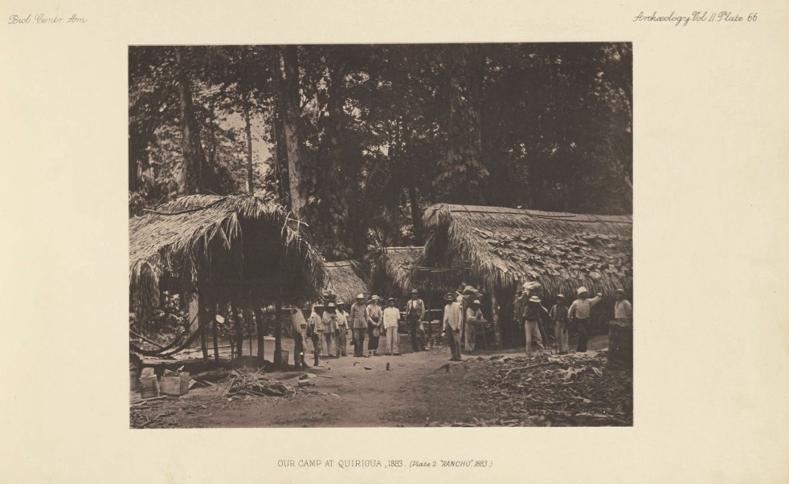 Campamento de Maudslay en Quiriguá, 1883. De allí parte rumbo a Cobán para reclutar a 20 mozos que lo ayuden en los trabajos de limpieza y documentación del sitio arqueológico.