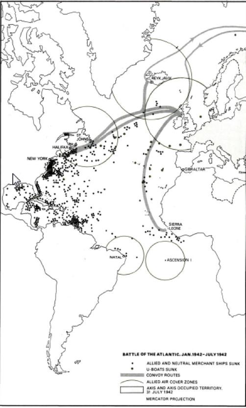 Interesante mapa de la Batalla del Atlántico que cubre el período de enero de 1942 a julio de 1942, representando en puntos negros pequeños los buques aliados hundidos en la cuenca atlántica, publicado por http://history-peru.blogspot.com/.