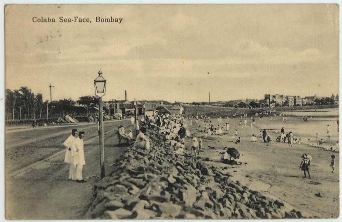 Paseo marítimo de la ciudad de Bombay (hoy Mumbai), puerta de entrada a la India para la escritora María Cruz, quien llegó a la región en noviembre de 1912.