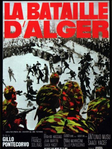 Afiche publicitario de la cinta, premiado en el Festival de Cannes de 1966. Por problemas con la censura en algunos países no pudo ser proyectada en las salas sino hasta la temporada 1970/71, bajo la distribución de una compañía estadounidense, que optó para los Estados Unidos y América, suprimir las escenas de tortura.
