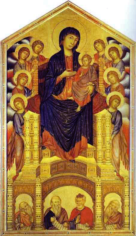 Cimabue. Madonna and Child Enthroned with Eight Angels and Four Prophets (Maestà). 1280. Tempera on panel
