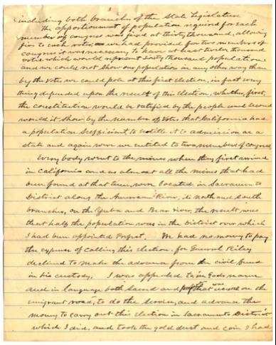 Página manuscrita de las memorias de Elisha Oscar Crosby, Reminiscencias de California y Guatemala desde 1849 a 1864.