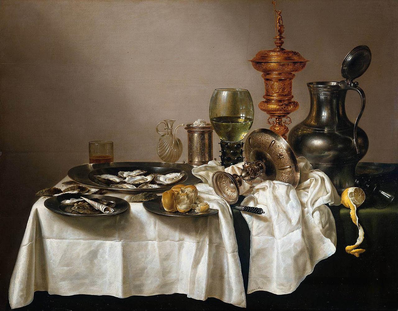Willem Claesz Heda Naturaleza muerta con  copa dorada, 1635, óleo sobre tabla