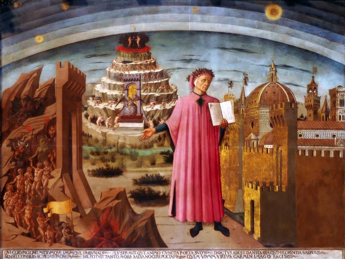 """""""Dante sostiene una copia de la Divina comedia"""", Doménico di Michelino, 1465. Museo del Duomo, Florencia, Italia."""
