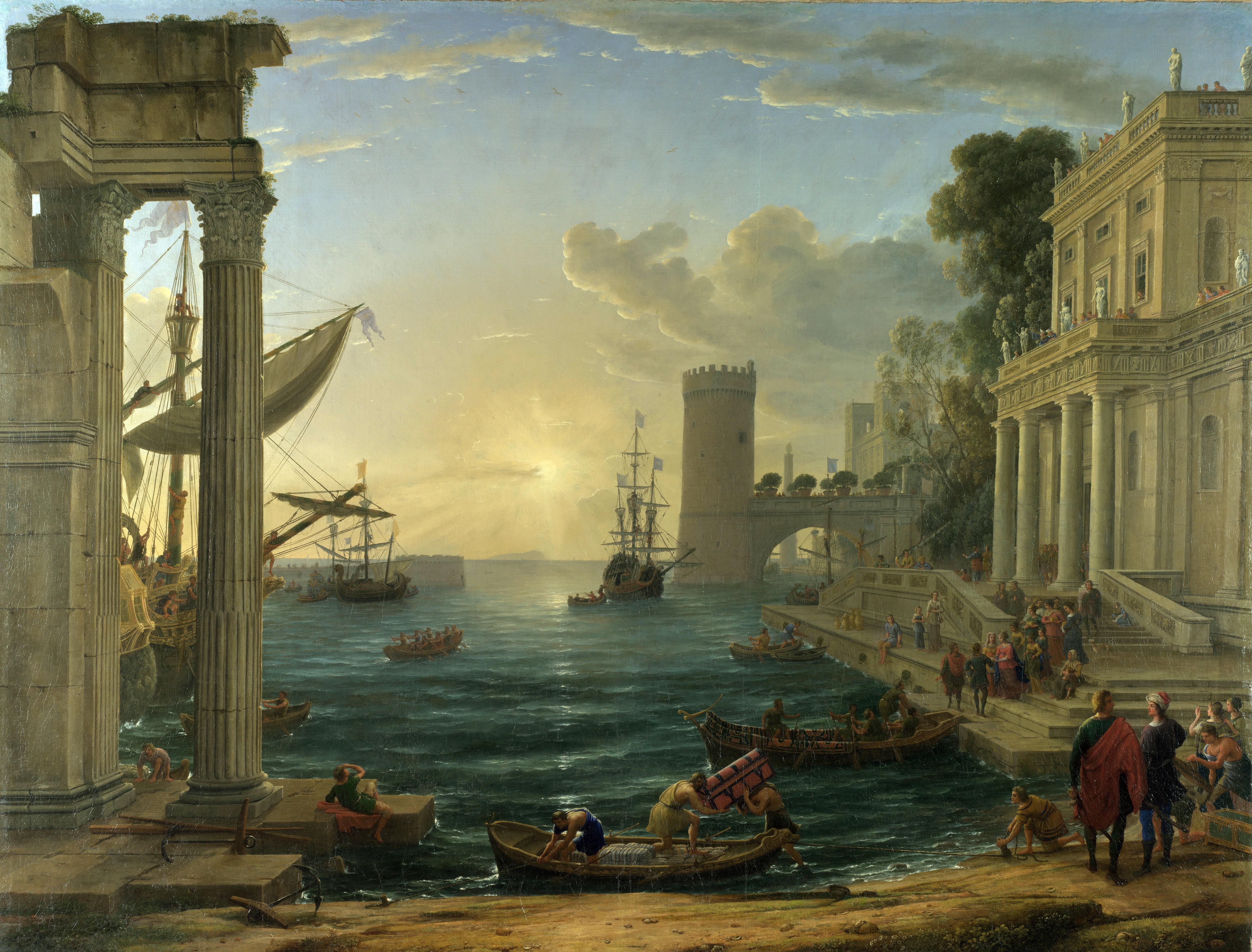 Claude_Lorrain Puerto con el embarque de la Reina de Saba (1648)